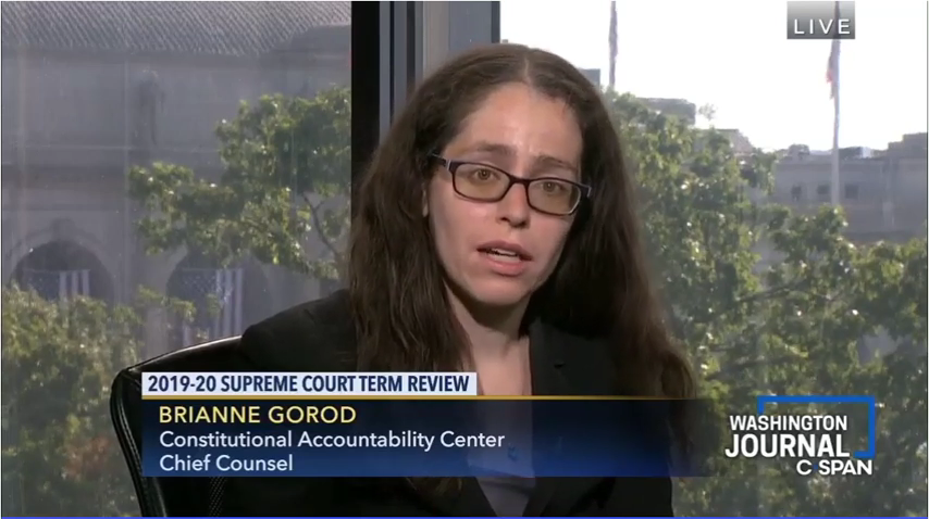 CAC's Brianne Gorod appearing on C-SPAN on July 2, 2019